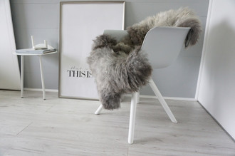 Genuine - Rare Breed Scandinavian Pelssau Sheepskin Rug - Extremely Soft Silky Wool - Silver | Grey | Ash | Brown Mix - SS 224