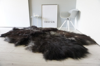 Genuine Quad (4) Icelandic Sheepskin Rug - Natural Black Brown Ash Silver Mix - Super Soft Silky Long Wool - QI 15