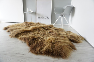 Genuine Quad (4) Icelandic Sheepskin Rug - Natural Rare Rusty Brown Mix - Super Soft Silky Long Wool - QI 17