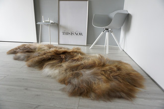 Genuine Double (2) Icelandic Sheepskin Rug - Natural Rusty Brown Ash Silver White Mix - Super Soft Silky Long Wool - DI 44
