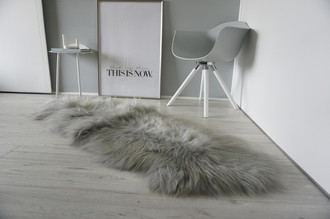 Genuine Double (2) Icelandic Sheepskin Rug - Dyed Gray Silver Beige Sand Mix - Super Soft Silky Long Wool - DI 46