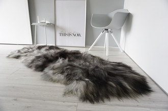 Genuine Double (2) Icelandic Sheepskin Rug - Natural Black Brown Silver Ash Mix - Super Soft Silky Long Wool - DI 47