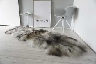 Genuine Double (2) Icelandic Sheepskin Rug - Natural Black Brown Silver Ash Mix - Super Soft Silky Long Wool - DI 48