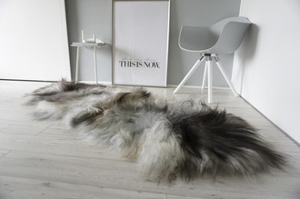 Genuine Double (2) Icelandic Sheepskin Rug - Natural Black Brown Silver Grey White Mix - Super Soft Silky Long Wool - DI 49