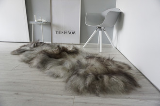 Genuine Double (2) Icelandic Sheepskin Rug - Natural Black Brown Silver Ash Latte Mix - Super Soft Silky Long Wool - DI 50