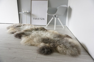 Genuine Rare Breed Scandinavian Pelssau - Double (2) Sheepskin Rug - Super Soft Silky Wool - Silver Grey Ash Latte Mix - DS 8