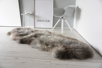 Genuine Rare Breed Scandinavian Pelssau - Double (2) Sheepskin Rug - Super Soft Silky Wool - Silver Grey Ash Latte Mix - DS 9