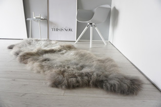 Genuine Rare Breed Scandinavian Pelssau - Double (2) Sheepskin Rug - Super Soft Silky Wool - Silver Grey Ash Latte Mix - DS 11