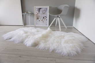 Genuine Tibetan - Mongolian Quad (4) Sheepskin Rug | Super Soft Silky Long Curly Snow White Wool