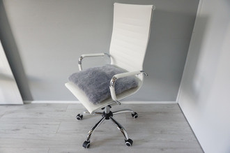 Genuine Sheepskin Seat Pad | Cushion - Grey colour - Super soft wool - Quilted base - All chair