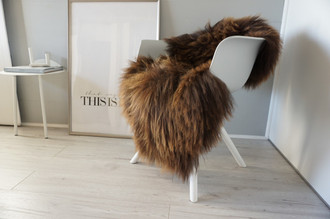 Genuine Icelandic Sheepskin Rug - Rare Rusty Brown Mix - Super Soft Touch Long Wool - SI 435