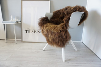 Genuine Icelandic Sheepskin Rug - Rare Rusty Brown Mix - Super Soft Touch Long Wool - SI 436