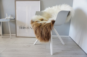 Genuine Icelandic Sheepskin Rug - Cream White Rusty Brown Mix - Super Soft Touch Long Wool - SI 438