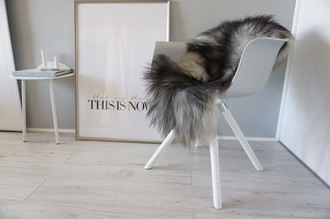 Genuine Icelandic Sheepskin Rug - Cream White Grey Mix - Super Soft Touch Long Wool - SI 440