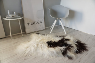 Genuine Icelandic Sheepskin Rug - Cream White Black Mix - Super Soft Touch Long Wool - SI 441