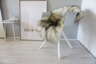 Genuine Icelandic Sheepskin Rug - Cream White Black Brown Mix - Super Soft Touch Long Wool - SI 444