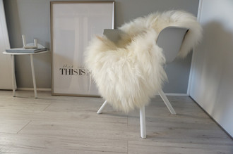 Genuine Icelandic Sheepskin Rug - Cream white Rusty Brown  Mix - Super Soft Touch Long Wool - SI 447