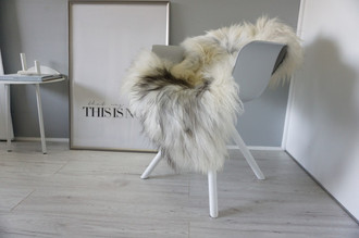 Genuine Icelandic Sheepskin Rug - Cream white Grey Brown  Mix - Super Soft Touch Long Wool - SI 448
