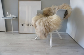 Genuine Icelandic Sheepskin Rug - Beige Brown  Mix - Super Soft Touch Long Wool - SI 449