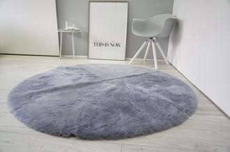 Genuine Round Sheepskin Rug - Dyed Dark Grey / Blue colour- Shorn Super Soft Wool - RN 13