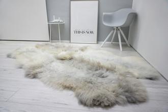 Wonderful Genuine - Rare Breed Scandinavian Pelssau - Quad Sheepskin Rug - Soft Silky Wool - Grey | Silver | Ash | Latte Mix - QS 7