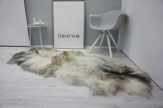 Genuine Double Icelandic Sheepskin Rug - Black brown Silver Gray White Mix - Super Soft Touch Long Wool - DI 51