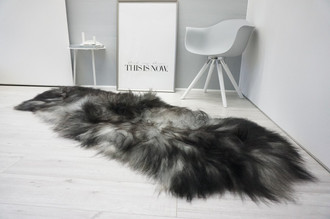 Genuine Double Icelandic Sheepskin Rug - Black brown Silver Gray Mix - Super Soft Touch Long Wool - DI 52