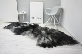 Genuine Double Icelandic Sheepskin Rug - Black brown Silver Gray Mix - Super Soft Touch Long Wool - DI 53