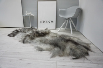 Genuine Double Icelandic Sheepskin Rug - Black Silver Gray White Mix - Super Soft Touch Long Wool - DI 54