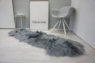 Genuine Rare Breed Icelandic - Double (2) Natural Sheepskin Rug Dyed Grey | Silver | Ash | Tan | Grey Mix - DI 55