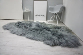 Genuine Rare Breed Icelandic - Quad Natural Sheepskin Rug - Dyed Grey | Silver | Ash | Tan | Beige Mix - QI 18