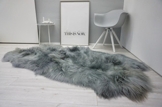 Genuine Rare Breed Icelandic - Quad Natural Sheepskin Rug - Dyed Grey | Silver | Ash | Tan | Beige Mix - QI 19