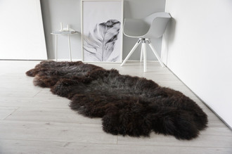 Genuine Rare Breed Scandinavian Pelssau - Double (2) Sheepskin Rug - Super Soft Silky Wool - Choco Brown Mix - DS 12
