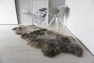 Genuine Rare Breed Scandinavian Pelssau - Double (2) Sheepskin Rug - Super Soft Silky Wool - Choco Brown Mix - DS 13