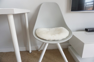 Genuine Sheepskin Eames style chair seat pad cushions High quality White