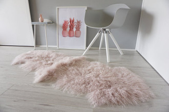 Luxurious Genuine Tibetan - Mongolian Double Sheepskin Rug | Super Soft Silky Long Curly Blush | Pale Pink | Rose Gold Wool