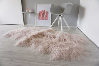 Luxurious Genuine Tibetan - Mongolian Quad (4) Sheepskin Rug | Super Soft Silky Long Curly Blush | Pale Pink | Rose Gold Wool