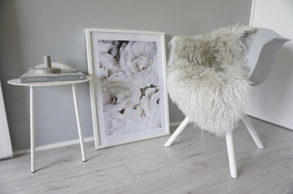 Luxurious Genuine Tibetan - Mongolian Single Sheepskin Rug | Super Soft Silky Long Curly Grey Sliver Pale Grey Colour
