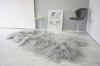 Genuine Rare Breed Icelandic - Quad Natural Sheepskin Rug - Dyed Grey | Silver | Ash | Tan | Beige Mix - QI 20