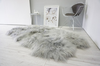 Genuine Rare Breed Icelandic - Quad Natural Sheepskin Rug - Dyed Grey | Silver | Ash | Tan | Beige Mix - QI 21