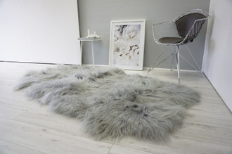 Genuine Rare Breed Icelandic - Quad Natural Sheepskin Rug - Dyed Grey | Silver | Ash | Tan | Beige Mix - QI 22