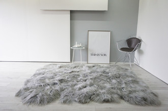 Genuine Rare Breed Octo (8) Icelandic Sheepskin Rug - Soft Silky Long Wool - Grey colour