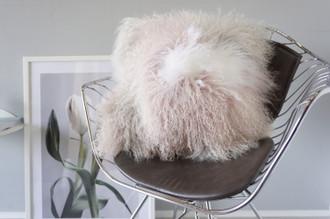 Luxury Genuine Mongolian | Tibetan Patchwork Sheepskin Lamb Fur Chair Pillow Cushion | Blush Pink | Grey | Snow White | Suede backing