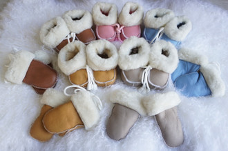 Genuine Sheepskin Mittens and Baby Bootie Set | Sheepskin Mittens | Sheepskin Baby Booties | Winter Baby Clothes Set