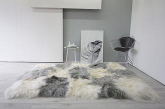 Luxury Genuine Rare Unique Rectangular Icelandic Sheepskin Rug | Grey and White Mosaic Sheepskin Rug | Extra Soft Long Wool | BWGR 1