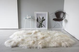 Wonderful Luxury Genuine Natural - Creamy White Sexto (6 Pelts ) Icelandic Sheepskin - Rug Super Soft Silky Long Wool SXI 9