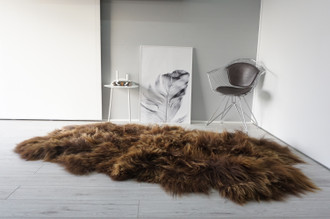 Luxurious Genuine Natural Very Rare | Rusty Brown | Gold | Quad (4 Pelts ) Icelandic Sheepskin Rug | Super Soft Silky Long Wool QIRB 1