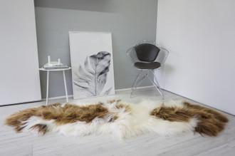 Genuine Rare Double Icelandic Sheepskin Two Pelt Rug | Wool Rug | Sheepskin Hide | Icelandic Sheepskin | Natural Long Wool - DI 68