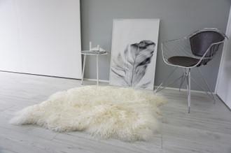 Genuine Rare Double (2) Icelandic Mongolian Sheepskin Rug | Side by Side Sheepskin | Two Pelt Rug | Wool Rug | Natural Curly Wool - DI 74