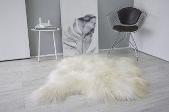 Genuine Rare Double (2) Icelandic Sheepskin Rug | Side by Side Sheepskin | Two Pelt Rug | Wool Rug | Natural Long Wool - DI 79